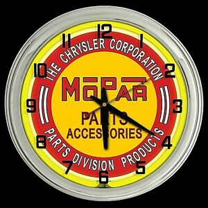 "16"" MOPAR Parts Accessories Sign Yellow Neon Clock Man Cave Garage"