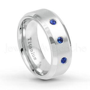 Men's White Titanium Ring 0.15ctw Blue Sapphire 3-Stone Comfort Fit Wedding Band