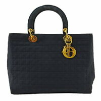 Christian Dior Cannage Tote Hand Bag Cotton Used