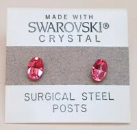 Pink Oval Stud Earrings 8mm Small Crystal Made with Swarovski Elements Gift
