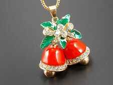 Betsey Johnson!Cute fashion inlay Crystal Christmas bells Pendant Necklace #B222