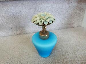 "ANTIQUE VINTAGE Blue Satin Glass w/ Flower Pump Perfume Bottle IRICE 4.75"""