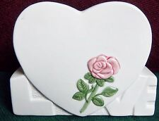 Vintage Heart Vase With Pink Rose. Great For Valentines Day Giving