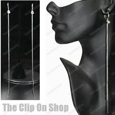 "8""LONG slinky CLIP ON EARRINGS crystal RHINESTONE LIQUID SILVER PLT hoop clips"