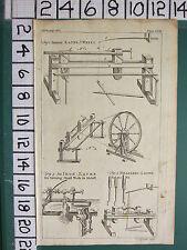 1754 ANTIQUE PRINT ~ LATHE WHEEL ~ BRASS & IRON TURNING SMALL WORK IN METAL