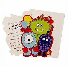 8 Monster Childrens Party Invitations High quality Cards With Envelopes