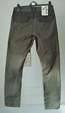 """BNWT Next ~ slim fit low rise button fly khaki green cotton jeans ~32"""" W X 33""""L"""