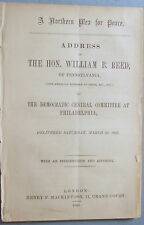 1863 NORTHERN PEACE PLEA CIVIL WAR ABRAHAM LINCOLN PHILADELPHIA DEMOCRAT TRADE