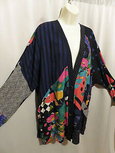 Vintage Carole Little Artsy Colorful Tunic Jacket Rayon From Germany Size 8