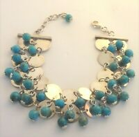 JAY KING DTR Sterling Silver Discs & Turquoise Bead Cha-Cha Bracelet