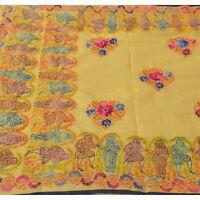 Tcw  New Heavy Dupatta Hand Embroidered Kantha Stole Chanderi Silk Cream