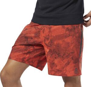 Reebok Crossfit Speed Mens Training Shorts Orange Camo Gym Fitness Workout Short