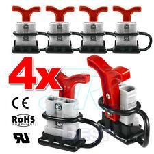 4x 50 Amp Anderson Plug Style Connectors Handle T-Bar Dust Cap Cover 12-24V