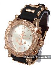 mens big rose gold watch navy anchor dial bullets black sport strap