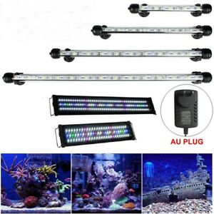 Aquarium Light Fish Tank LED Bar Lamp Pool Submersible Waterproof White Blue RGB
