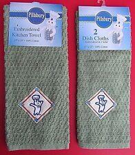 NWT 2005 Pillsbury Doughboy Olive Green Embroidery Kitchen Towel & 2 Dish C