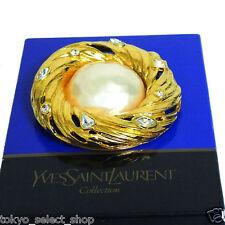 Authentic YVES SAINT LAURENT YSL Brooch w/Faux Pearl/Rhinestones Goldtone in Box