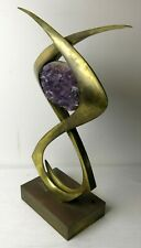 vintage willy daro brass & amethyst table lamp . ( base only ) !!