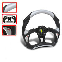 UNIVERSAL 320MM BATTLE RACING PVC LEATHER STEERING WHEEL BLACK SILVER LOGO USA