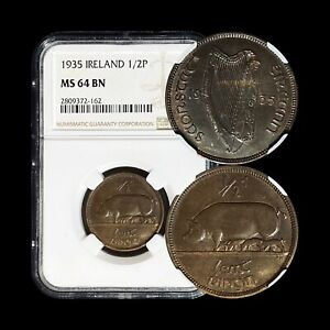 1935 Ireland 1/2 Penny - NGC MS 64 - Only 6 Graded Higher Semi-Key Date