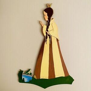 🎁 1950er Laubsägearbeit 25cm Kronen-Prinzessin Manufaktur Edelholz Freiberg ALT