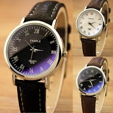 Casual Womens Mens Luxury Quartz Analog Watch Silver Leather Band Wrist W,Prof