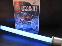 Nintendo Wii + Wii u - Lego Star Wars III The CLONE WARS +BRIGHT Blue Lightsaber