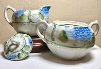 Antique China JE-OH Nippon Hand Painted Creamer & Sugar Blue Gold Floral Moriage
