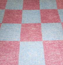 Antique Cotton Checkerboard Blanket Piece Fabric ~ Claret Light Calico Blue
