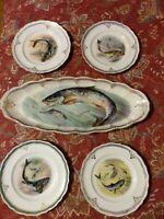 Antique La Francaise Fish Plate Set
