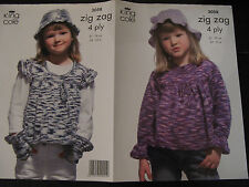 """King Cole Knitting Pattern: Girls Smock Tops Gloves & Hat 4ply 24-30"""" 3058"""