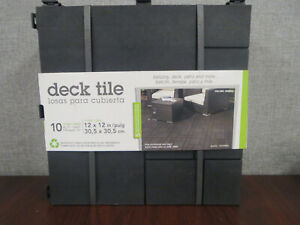"New- 10 Pack Multy Home 12"" x 12"" Deck Tile Mosaic Pattern - Slate - Black"