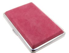 Cigarette Case -- Mysmokingshop Pink Marble Leather Chrome King Size -- NEW ksc2