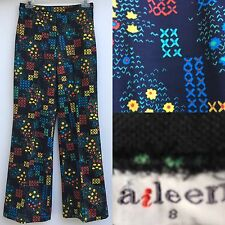 Vintage Aileen Psychedelic 60s High Waist Polyester Pants VTG 8 Small