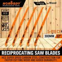 5Pc 300mm Reciprocating Saw Blades 5TPI Wood Timber Pruning Tool W/T Case
