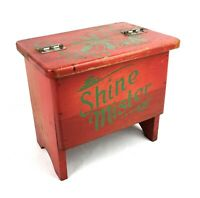 Vintage Hand Painted Shine Mister Shoe Shine Wooden Box Great Paint