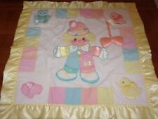 1987 cozy bows soft satin security BABY BLANKET those characters cleveland clown