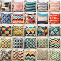 "18"" Cotton Linen Boho Geometric Cushion Cover Throw Pillow Case Sofa Home Decor"