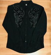 Helix Mens Urban Dress Shirt Black Button Down Long Sleeve Size Large