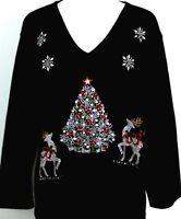 X-LARGE Top Rhinestone Embellished Silver Christmas Tree Reindeer Snowflakes