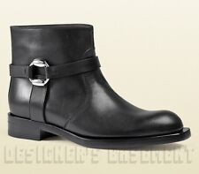 GUCCI black 41 leather GEORGIA Biker Low Heel BUCKLE Ankle boots NIB Authen $995