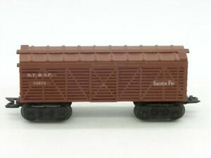 Marx Trains O Gauge Santa Fe 13975 Cattle Car on Deluxe Trucks