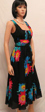 CALVIN KLEIN Black & Flower Long Skirt Cotton Dress 6 NWT~ NEW ARRIVAL