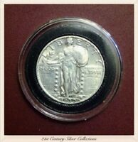 White Gem 1930 P 25c Standing Liberty Quarter AU + Full Head