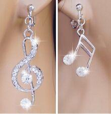 #c017e Non-pierced CLIP ON screw back EARRINGS Great Treble Clef Music Note new