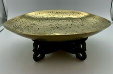 Antique Oriental Engraved Brass Tray and Stand circa 1900