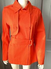 ESCADA SPORT WOMEN'S TRENCH COAT JACKET BELTED TROPICAL ORANGE SZ 38