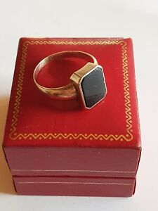 Goldring 333 Gold, Siegelring, Herren Ring Onyx Besatz, RG 69