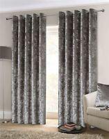 Zerdrückter Samt Silber Gefüttert Ring Top Curtains 168cm X 183cm