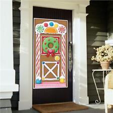 Cubierta de Puerta de Casa de Navidad Pan De Jengibre Caramelo Decoración Pared Banner